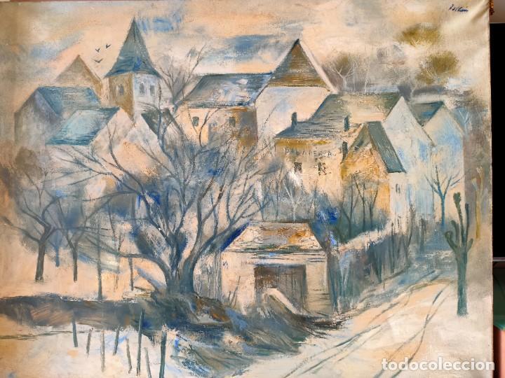 JORDI ROLLAN LAHOZ (BARCELONA 1940) OLEO SOBRE TELA PAISAJE URBANO GRAN TAMAÑO (Arte - Pintura - Pintura al Óleo Contemporánea )