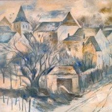 Arte: JORDI ROLLAN LAHOZ (BARCELONA 1940) OLEO SOBRE TELA PAISAJE URBANO GRAN TAMAÑO. Lote 232255405