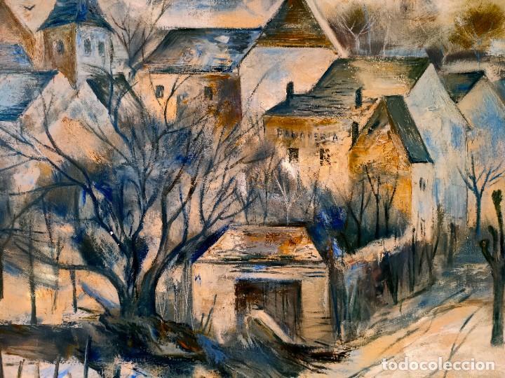 Arte: JORDI ROLLAN LAHOZ (BARCELONA 1940) OLEO SOBRE TELA PAISAJE URBANO GRAN TAMAÑO - Foto 2 - 232255405