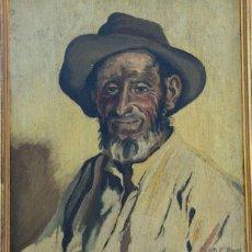 Arte: M.C LLASAT - ANCIANO ALCOHOLIZADO ÓLEO SOBRE TABLA - FIRMADO A MANO - 1945. Lote 232433443