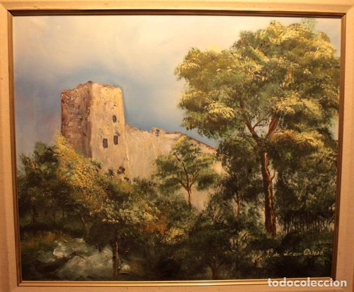 OLEO SOBRE LIENZO, PAISAJE CON CASTILLO, FIRMADO. ENMARCADO 72X63 (Arte - Pintura - Pintura al Óleo Contemporánea )