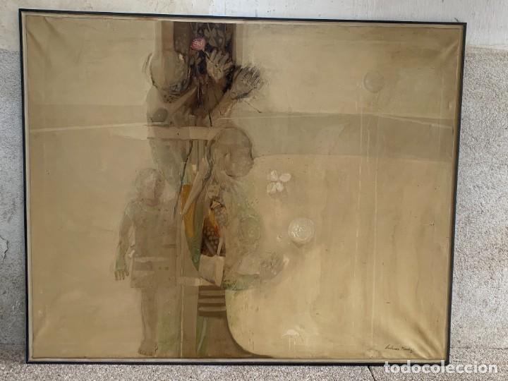 OLEO LIENZO COMPOSICION NIÑOS FLORES 135X167CMS JUAN GUTIERREZ MONTIEL JEREZ DE LA FRONTERA (Arte - Pintura - Pintura al Óleo Moderna sin fecha definida)