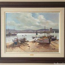 Arte: JORDI SERRAT BALASCH (TARADELL,GERONA, 1935) - MARINA CON BARCAS VARADAS.OLEO/TELA.GRAN FORMATO.. Lote 233441150