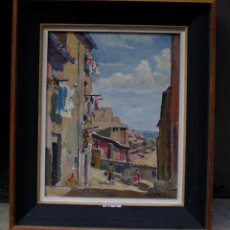 Arte: ALBERT RÀFOLS CULLERÉS, CALLE PLEYÁN DE PORTA, LLEIDA, 1957, PINTURA AL ÓLEO SOBRE TELA, FIRMADO.. Lote 233497900