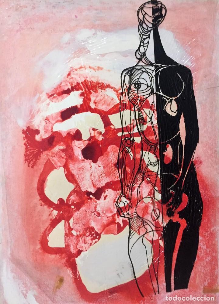 TÉCNICA MIXTA DE CIRO ODUBER(1921-2002),42X32, DE OCTUBRE DE 1967, ORIGINAL (Arte - Pintura - Pintura al Óleo Contemporánea )