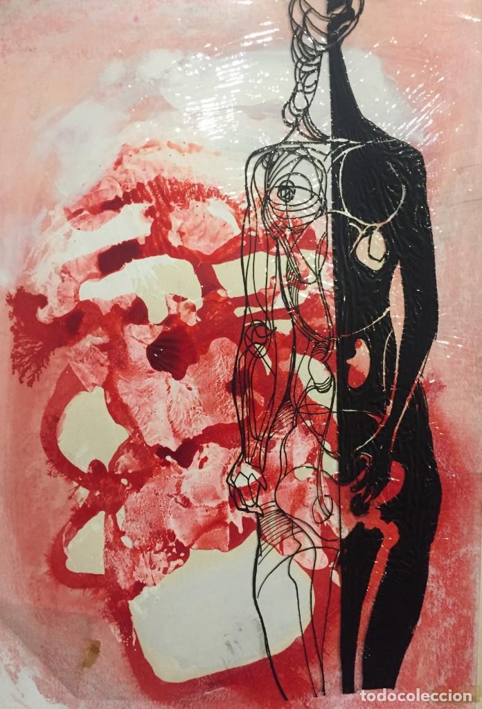 Arte: Técnica mixta de Ciro Oduber(1921-2002),42x32, de octubre de 1967, original - Foto 3 - 233576300