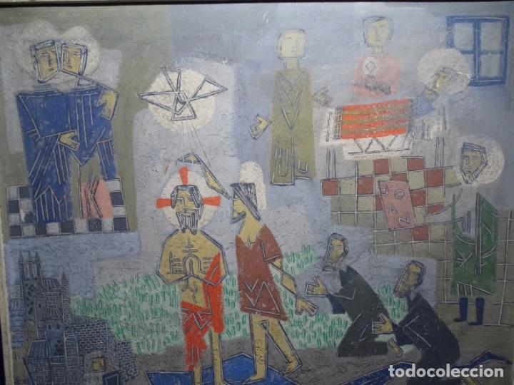 Arte: GRAN ÓLEO SOBRE TABLA DE JACINT MORERA, PINTOR AFINCADO EN TERRASSA.VIDA DE SANT JOAN.1956 - Foto 2 - 233609735