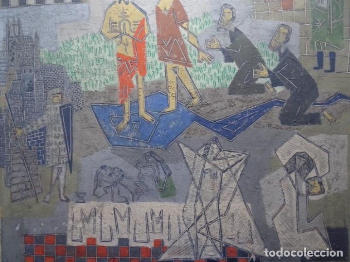 Arte: GRAN ÓLEO SOBRE TABLA DE JACINT MORERA, PINTOR AFINCADO EN TERRASSA.VIDA DE SANT JOAN.1956 - Foto 3 - 233609735