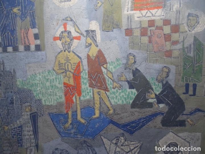 Arte: GRAN ÓLEO SOBRE TABLA DE JACINT MORERA, PINTOR AFINCADO EN TERRASSA.VIDA DE SANT JOAN.1956 - Foto 4 - 233609735