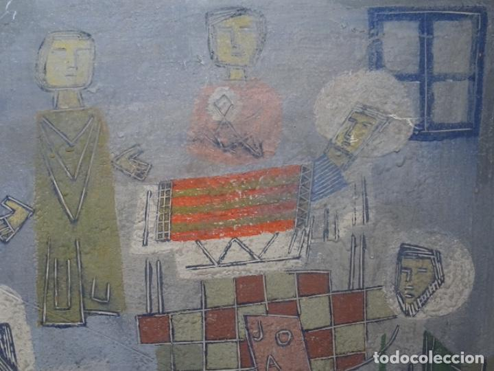 Arte: GRAN ÓLEO SOBRE TABLA DE JACINT MORERA, PINTOR AFINCADO EN TERRASSA.VIDA DE SANT JOAN.1956 - Foto 6 - 233609735