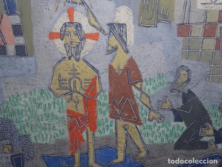 Arte: GRAN ÓLEO SOBRE TABLA DE JACINT MORERA, PINTOR AFINCADO EN TERRASSA.VIDA DE SANT JOAN.1956 - Foto 7 - 233609735