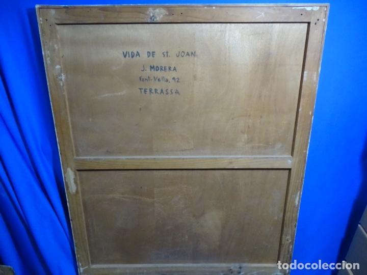 Arte: GRAN ÓLEO SOBRE TABLA DE JACINT MORERA, PINTOR AFINCADO EN TERRASSA.VIDA DE SANT JOAN.1956 - Foto 36 - 233609735