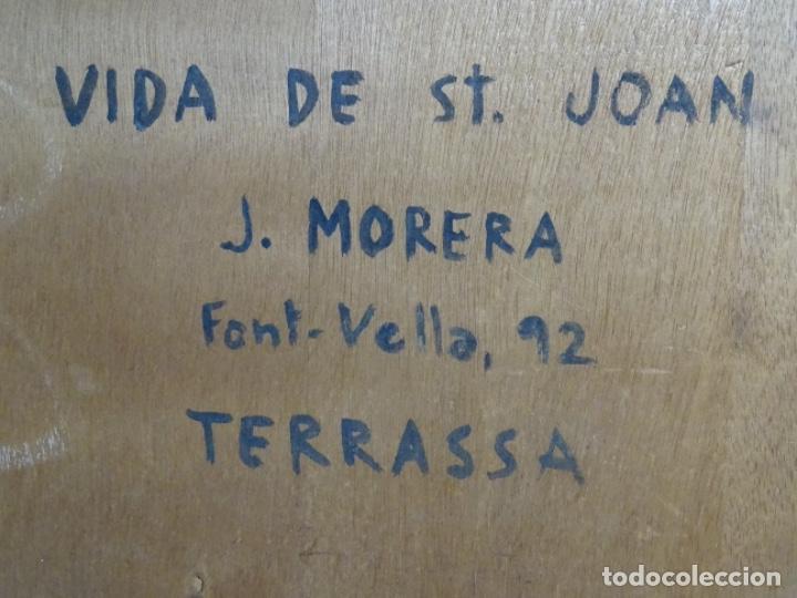 Arte: GRAN ÓLEO SOBRE TABLA DE JACINT MORERA, PINTOR AFINCADO EN TERRASSA.VIDA DE SANT JOAN.1956 - Foto 37 - 233609735