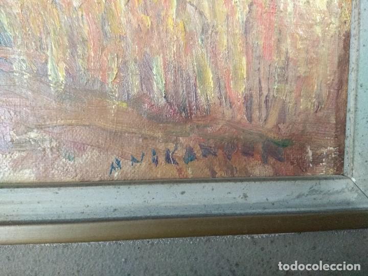Arte: CUADRO OLEO IMPRESIONISTA SOBRE CARTON/TABLEX AÑOS 50 FIRMADO Y CON MARCO DE LA EPOCA - Foto 5 - 233630935