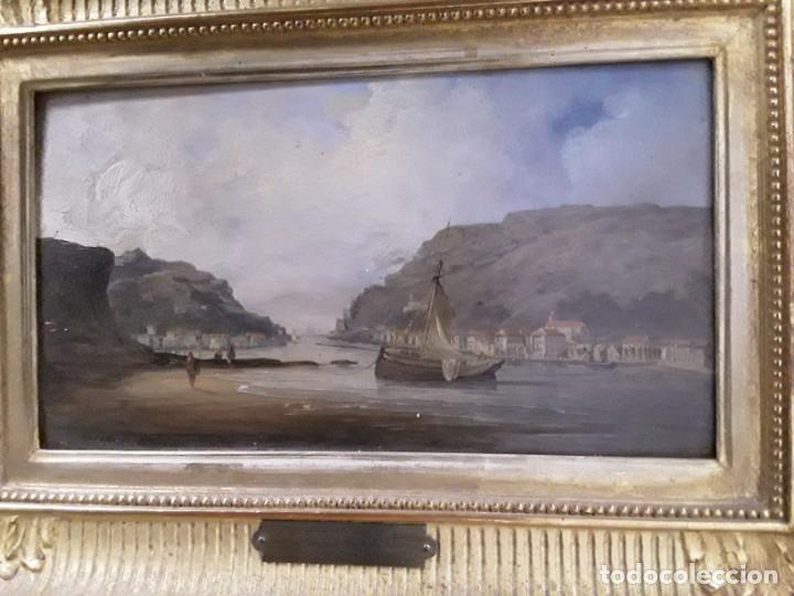 GOETHALS. PINTURA DE BAHIA DE PASAJES EN GUIPUZCOA. MEDIADOS DEL XIX. (Arte - Pintura - Pintura al Óleo Moderna siglo XIX)