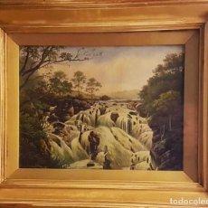 Arte: WILLIAM P.CARTWRIGHT(ENGLAND,1855-1915) SIVALLON FALLS ,ÓLEO SOBRE LIENZO ,1910-11 23 X 30 (36 X 43). Lote 233810500