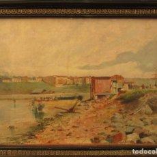 Arte: CUADRO DE T. CAMPUZANO, CON FIRMA Y FECHA DE 1888, REPRESENTANDO UN PAISAJE COSTERO.. Lote 233813440