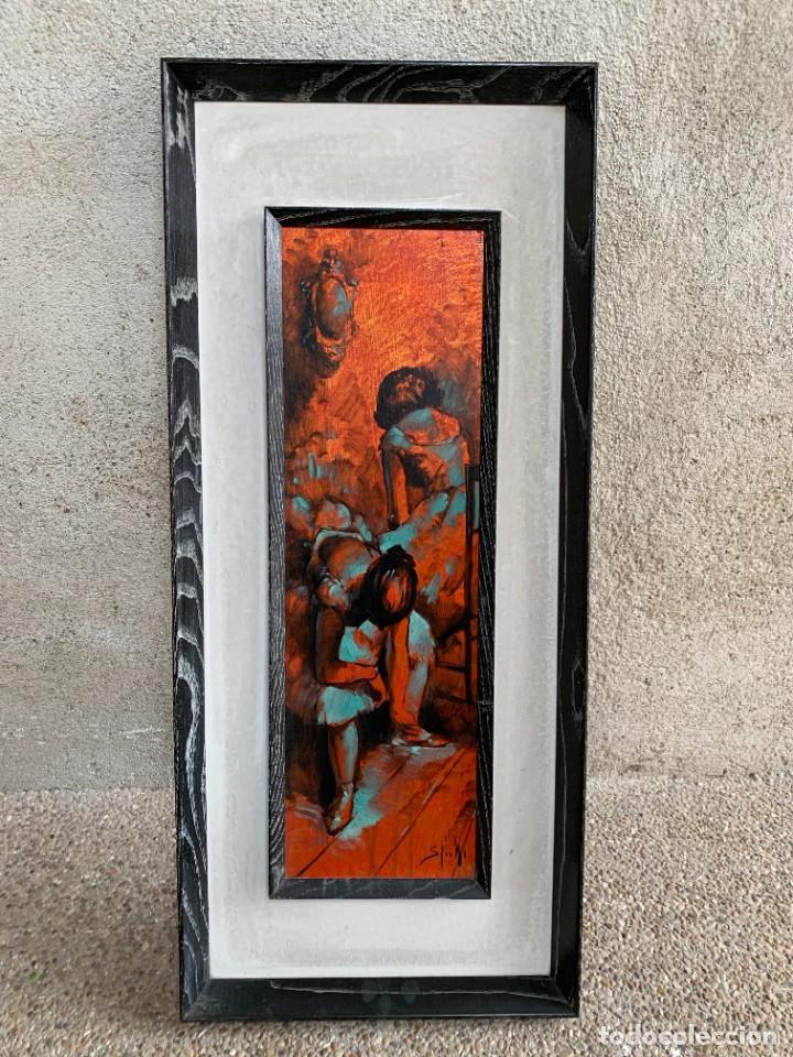 OLEO COBRE BAILARINAS ATANDOSE ZAPATILLAS ESPEJO AÑOS 50 60 FIRMA ILEGIBLE 92X40CM (Arte - Pintura - Pintura al Óleo Moderna sin fecha definida)