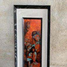 Arte: OLEO COBRE BAILARINAS ATANDOSE ZAPATILLAS ESPEJO AÑOS 50 60 FIRMA ILEGIBLE 92X40CM. Lote 234024085