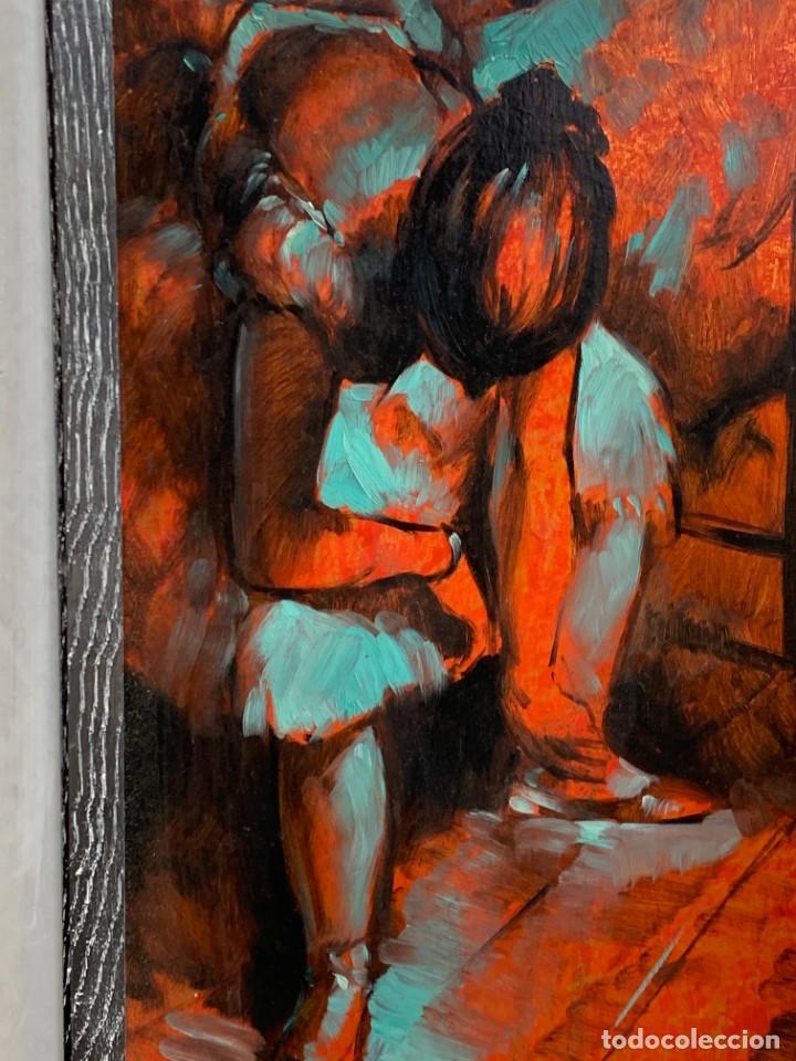 Arte: OLEO COBRE BAILARINAS ATANDOSE ZAPATILLAS ESPEJO AÑOS 50 60 FIRMA ILEGIBLE 92X40CM - Foto 2 - 234024085