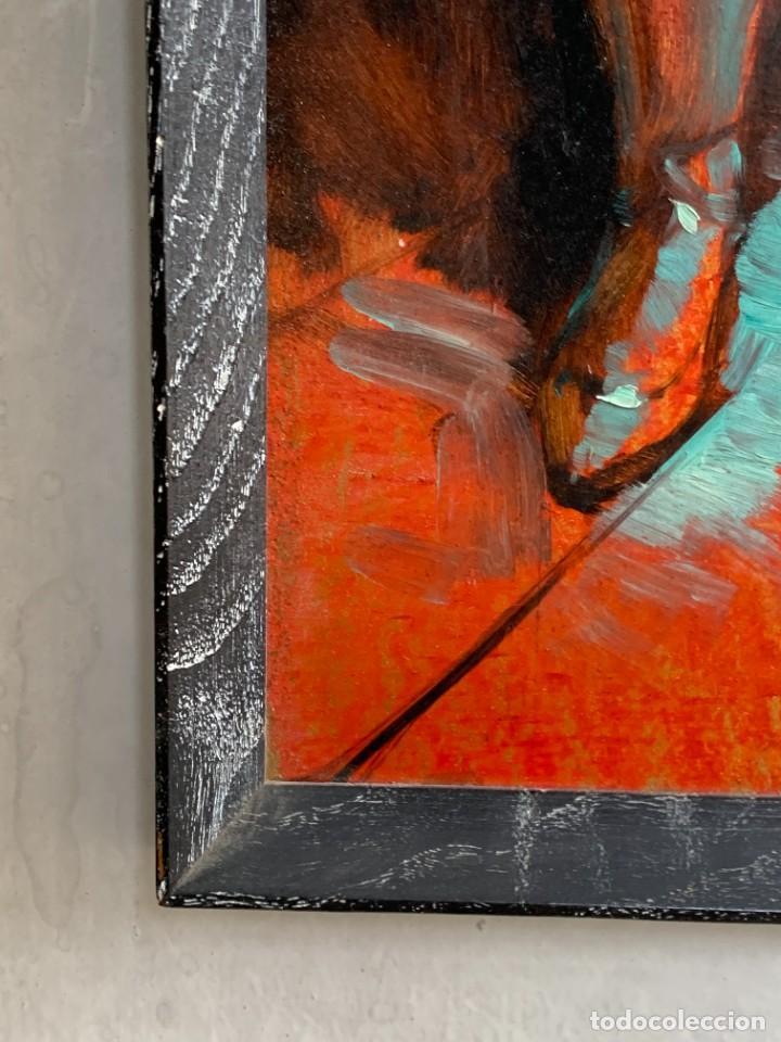 Arte: OLEO COBRE BAILARINAS ATANDOSE ZAPATILLAS ESPEJO AÑOS 50 60 FIRMA ILEGIBLE 92X40CM - Foto 12 - 234024085