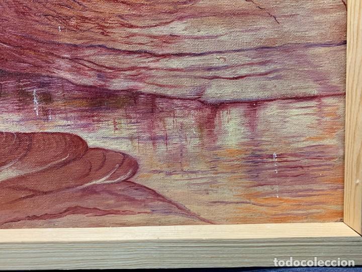 Arte: PAISAJE ROCOSO RIO OLEO LIENZO ONIRICO SUEÑO TONOS ROSAS GRANATE HIPPIE HIPIE AÑOS 70 80 41X64CM - Foto 4 - 234024740