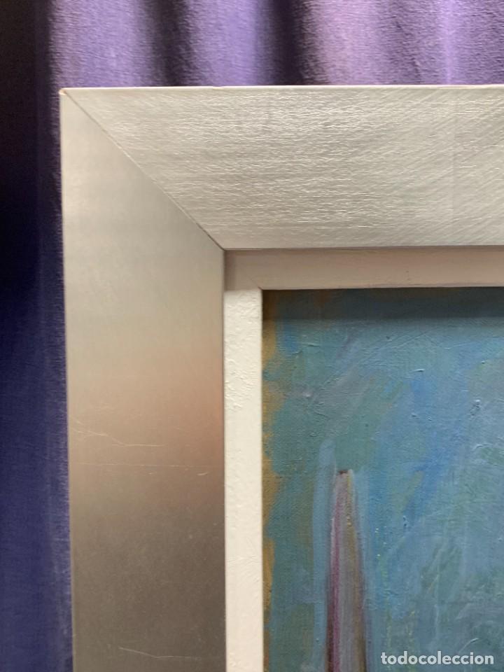 Arte: BODEGON FLORES PLATO CANDELABRO BUDA OLEO LIENZO TONOS AZULES MARGARITAS 61X60CM - Foto 12 - 234026005