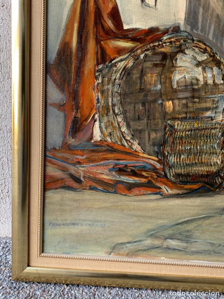 Arte: BODEGON CESTOS BOTELLAS FONDO DE CALLE CARDO TELA OLEO LIENZO FIRMA MANUEL GARCIA 61X75CM - Foto 3 - 234031360