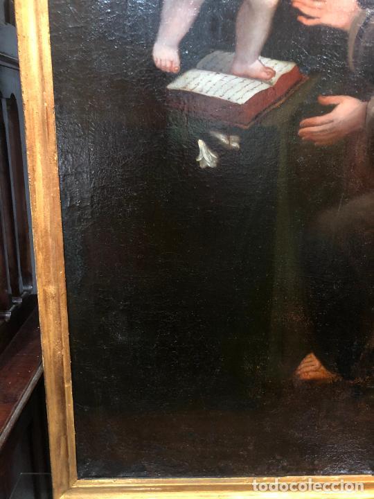 Arte: ESPECTACULAR OLEO SOBRE LIENZO SIGLO XVII RELIGIOSA IMAGEN SAN ANTONIO - MEDIDA MARCO 131X103 CM - Foto 8 - 234043050