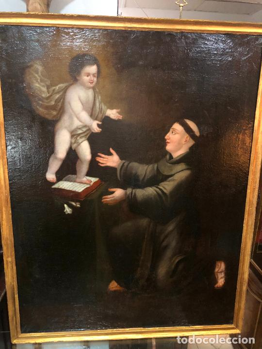 ESPECTACULAR OLEO SOBRE LIENZO SIGLO XVII RELIGIOSA IMAGEN SAN ANTONIO - MEDIDA MARCO 131X103 CM (Arte - Pintura - Pintura al Óleo Antigua siglo XVII)