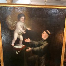 Arte: ESPECTACULAR OLEO SOBRE LIENZO SIGLO XVII RELIGIOSA IMAGEN SAN ANTONIO - MEDIDA MARCO 131X103 CM. Lote 234043050