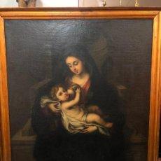 Arte: OLEO SOBRE LIENZO SIGLO XVIII VIRGEN AMAMANTANDO AL NIÑO JESUS - MEDIDA MARCO 113X89 CM. Lote 234048555