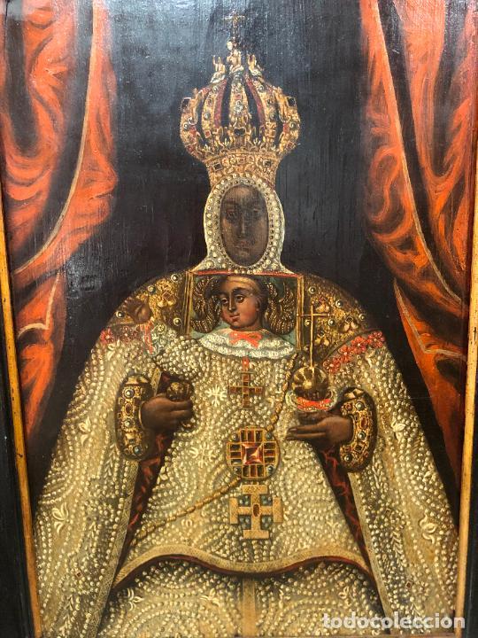 Arte: ESPECTACULAR OLEO SOBRE TABLA SIGLO XVII - VIRGEN DE TOLEDO - MEDIDA MARCO 105X79 CM - Foto 2 - 234049115
