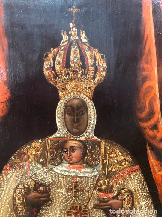Arte: ESPECTACULAR OLEO SOBRE TABLA SIGLO XVII - VIRGEN DE TOLEDO - MEDIDA MARCO 105X79 CM - Foto 3 - 234049115