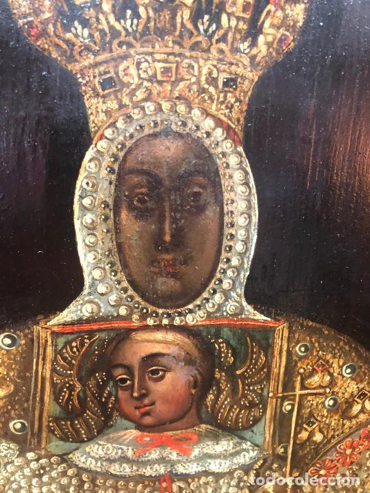 Arte: ESPECTACULAR OLEO SOBRE TABLA SIGLO XVII - VIRGEN DE TOLEDO - MEDIDA MARCO 105X79 CM - Foto 4 - 234049115