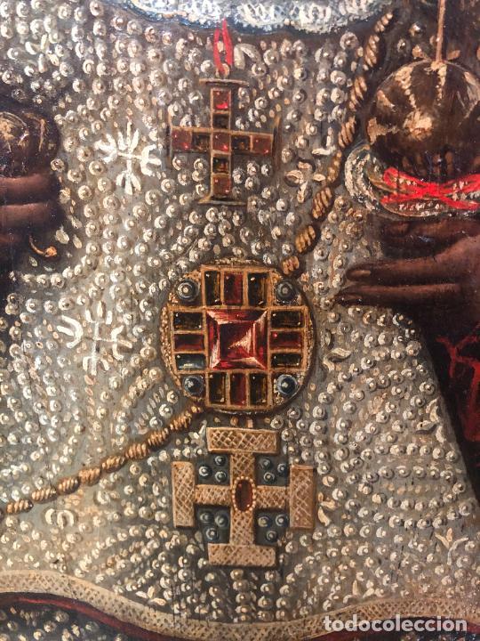 Arte: ESPECTACULAR OLEO SOBRE TABLA SIGLO XVII - VIRGEN DE TOLEDO - MEDIDA MARCO 105X79 CM - Foto 7 - 234049115