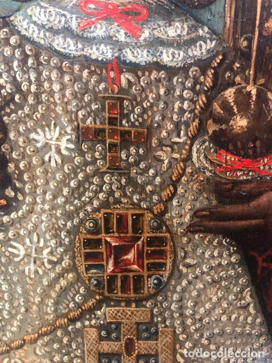 Arte: ESPECTACULAR OLEO SOBRE TABLA SIGLO XVII - VIRGEN DE TOLEDO - MEDIDA MARCO 105X79 CM - Foto 8 - 234049115