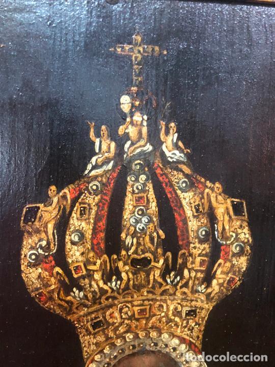 Arte: ESPECTACULAR OLEO SOBRE TABLA SIGLO XVII - VIRGEN DE TOLEDO - MEDIDA MARCO 105X79 CM - Foto 12 - 234049115