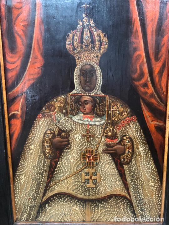 Arte: ESPECTACULAR OLEO SOBRE TABLA SIGLO XVII - VIRGEN DE TOLEDO - MEDIDA MARCO 105X79 CM - Foto 14 - 234049115