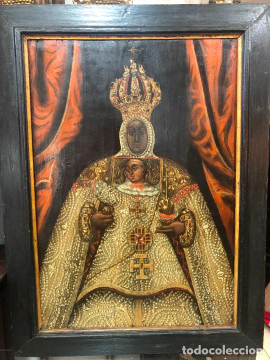ESPECTACULAR OLEO SOBRE TABLA SIGLO XVII - VIRGEN DE TOLEDO - MEDIDA MARCO 105X79 CM (Arte - Pintura - Pintura al Óleo Antigua siglo XVII)