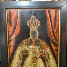 Arte: ESPECTACULAR OLEO SOBRE TABLA SIGLO XVII - VIRGEN DE TOLEDO - MEDIDA MARCO 105X79 CM. Lote 234049115