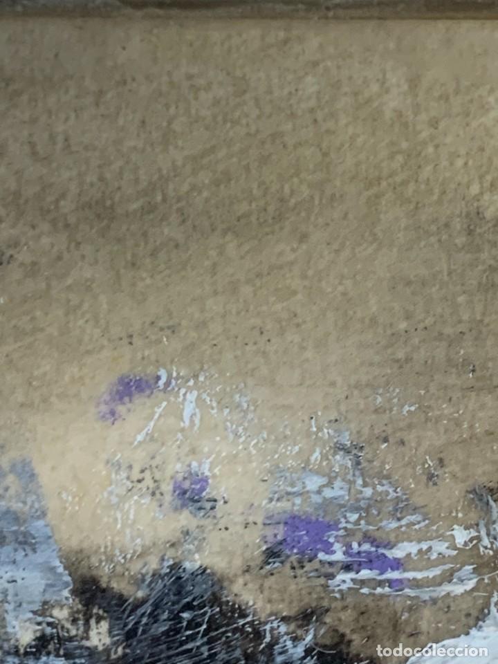 Arte: COMPOSICION ABSTRACTA TECNICA MIXTA TIZA GOUACHE PAPEL FIRMA MONJE AÑOS 80 43X43CM - Foto 5 - 234050365