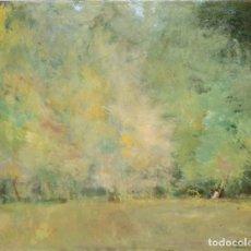 Arte: JUAN ANTONI VALLS TRULLAS (BARCELONA, 1923) OLEO SOBRE CARTON. PAISAJE CON FIGURAS. Lote 234114965