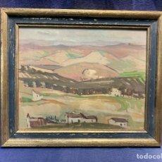 Arte: OLEO TABLA PAISAJE CASTILLA CASAS COLINA FIRMA 1959 31X37CMS. Lote 234154545