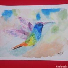 Arte: ACUARELA, COLIBRÍ, 28.5X21. Lote 234462730