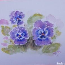 Arte: ACUARELA - FLORES 28,5X21. Lote 234535325