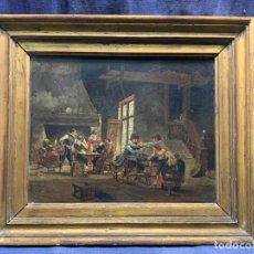 Arte: OLEO TABLA ESCENA TABERNA ESCUELA FRANCESA S XIX MOSQUETEROS S XVII BERGERAC FIRMA L LAROCHE 45X53CM. Lote 234694390
