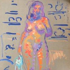 Arte: ANTONI MUNILL I PUIG (BCN 1939-1977) MAGNÍFICO DESNUDO FEMENINO CON PINTOR FIRMADO Y FECHADO EN 1976. Lote 234709290