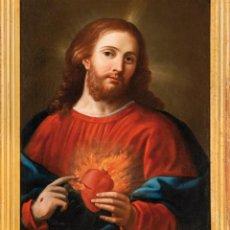 Arte: ÓLEO LIENZO SAGRADO CORAZÓN DE JESÚS ESCUELA ESPAÑOLA SIGLO XVIII. Lote 266731118