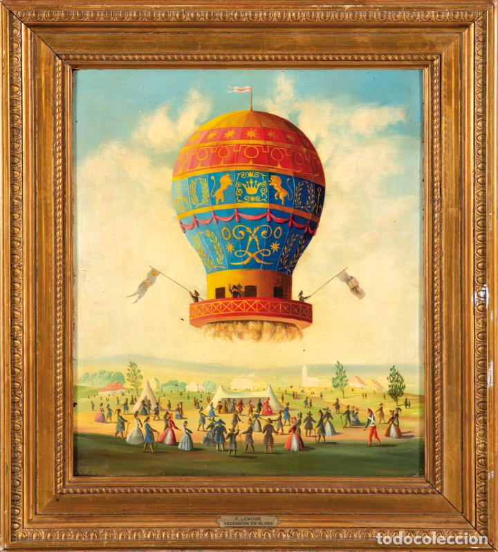ÓLEO TABLA ASCENSIÓN EN GLOBO FIRMADO LEMOINE FRANCIA SIGLO XIX (Arte - Pintura - Pintura al Óleo Moderna siglo XIX)